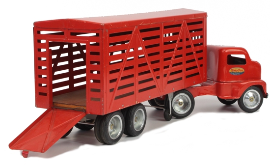 1953 Tonka Toys No 500 Livestock Semi Truck and Trailer 4