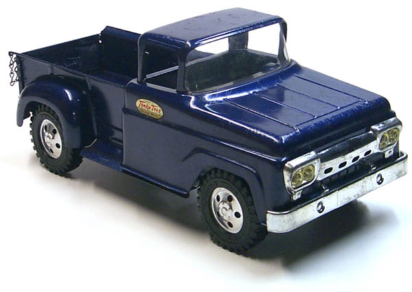 Front side view of a 1958 Tonka Blue Pickup Truck Number 02 with Box