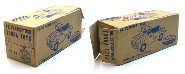 box views of a 1958 Tonka Blue Pickup Truck Number 02 Box
