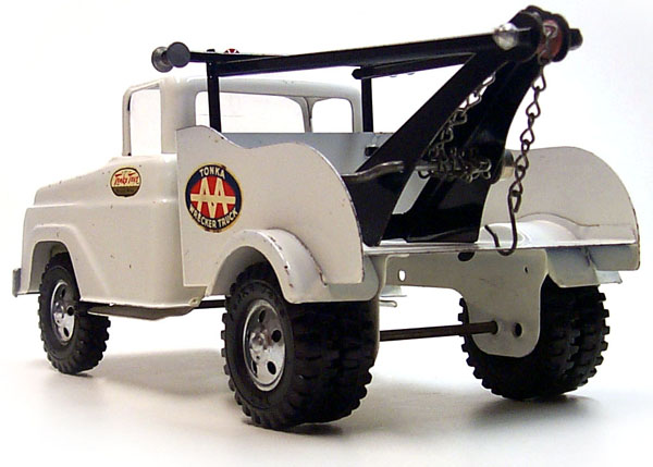 Rear view of a 1958 Platform Stake Utility Truck Number 03
