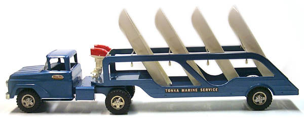 Side View of a 1959 Tonka Marine Service Semi Number 41 with Box