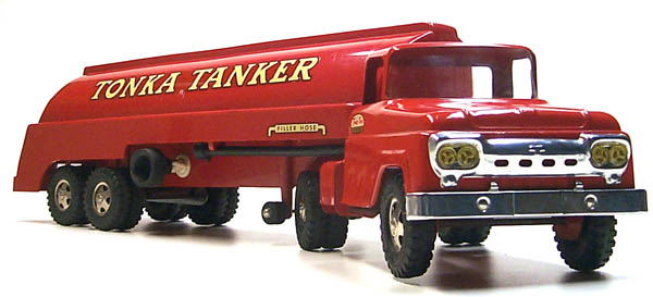 Front side view of a 1960 Tonka Tanker Gas Truck