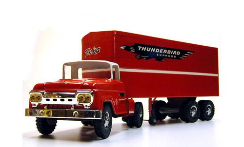 Front side view of a 1960 Private Label Tonka Thunderbird Express Semi Number 37