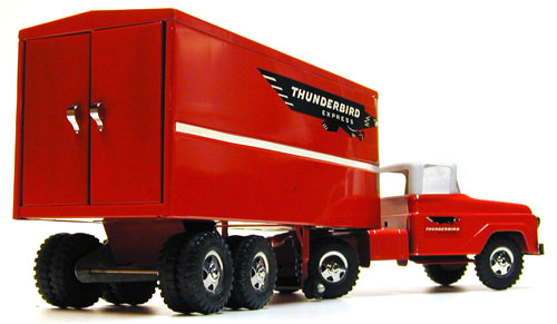Rear side view of a 1960 Private Label Tonka Thunderbird Express Semi Number 37