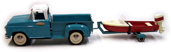 Side View of a 1961 Tonka Deluxe Sportsman Number 22 with Boat and Motor